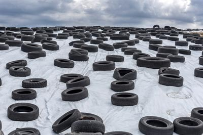 old tyres ready to be recycled