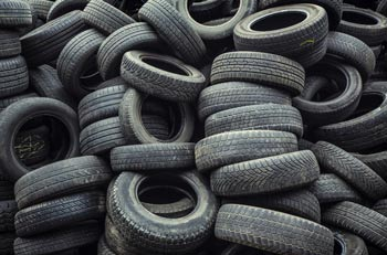 piled up old tyres