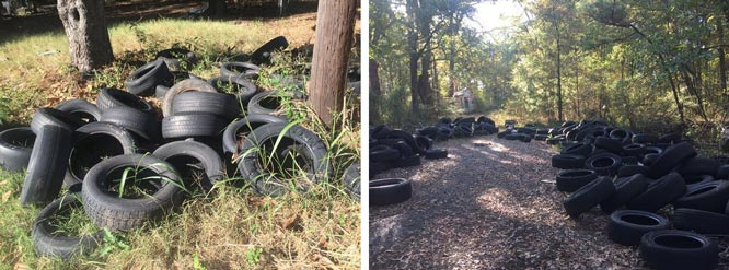 discarded old tyres in Shreveport, Texas