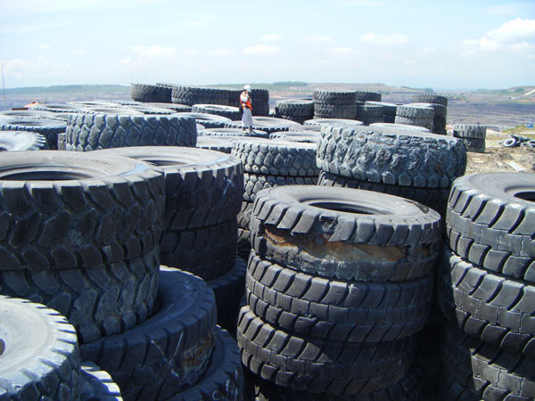 old mining truck tyres for recycling