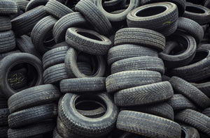 Hundreds of old tyres