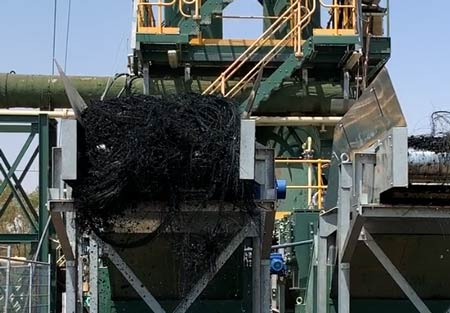 carbon and steel output from tyre recycling plant