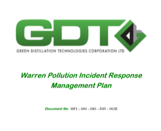 Warren Process Incident Report Management Plan